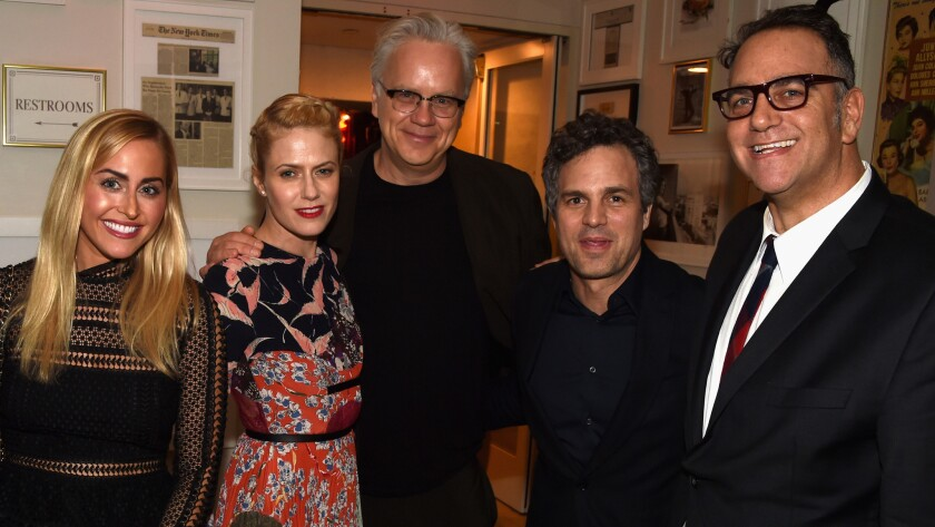 Lauren Sugar, left, Sunrise Coigney, Tim Robbins, Mark Ruffalo and producer Michael Sugar at Anonymous Content's pre-Oscar party Saturday in West Hollywood.