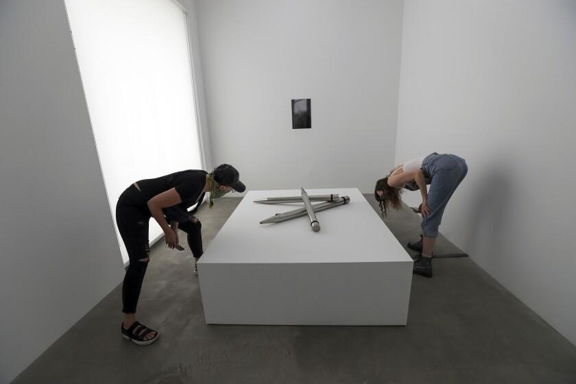 Anabel Romero and Christina Ward at the Susan Philipsz show at Tanya Bonakdar Gallery.