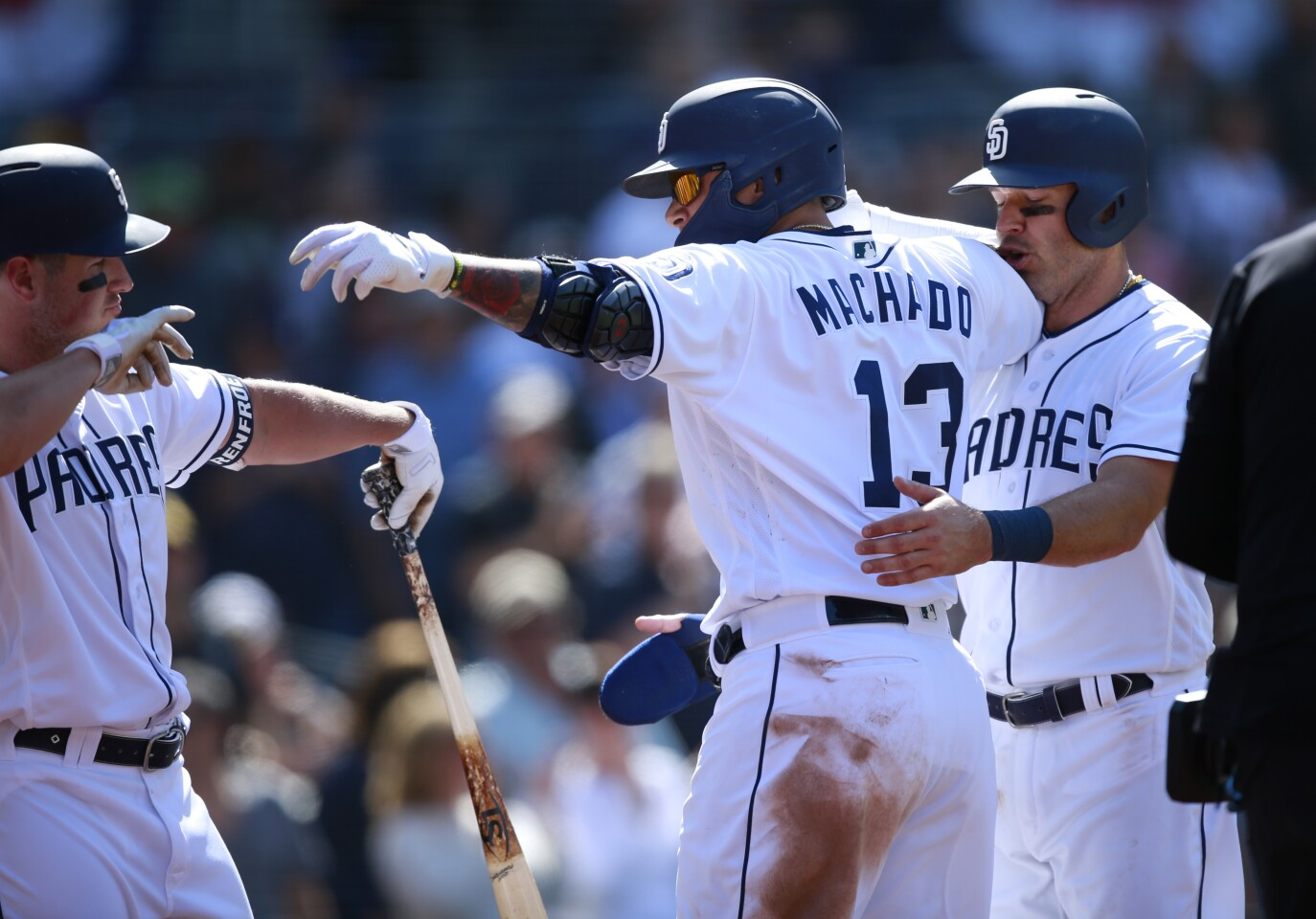 San Diego Padres Manny Machado celebrates his two-run home run in the 7th inning against the Arizona Diamondbacks at Petco Park in San Diego on April 3, 2019. (Photo by K.C. Alfred/The San Diego Union-Tribune)