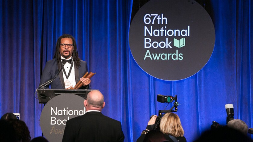 """Colson Whitehead accepts the National Book Award in fiction in 2016 for """"The Underground Railroad"""""""