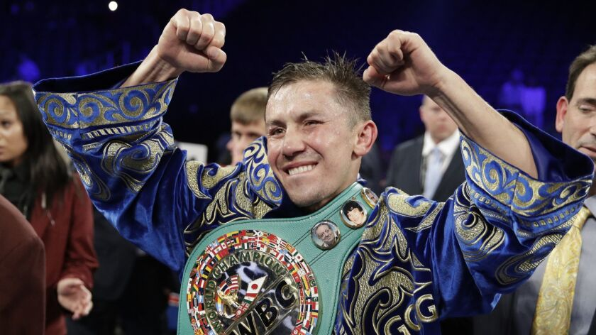 FILE - In this Sept. 17, 2017, file photo, Gennady Golovkin reacts following a middleweight title ag