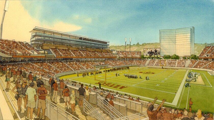 Rendering of SDSU Mission Valley stadium in football configuration.