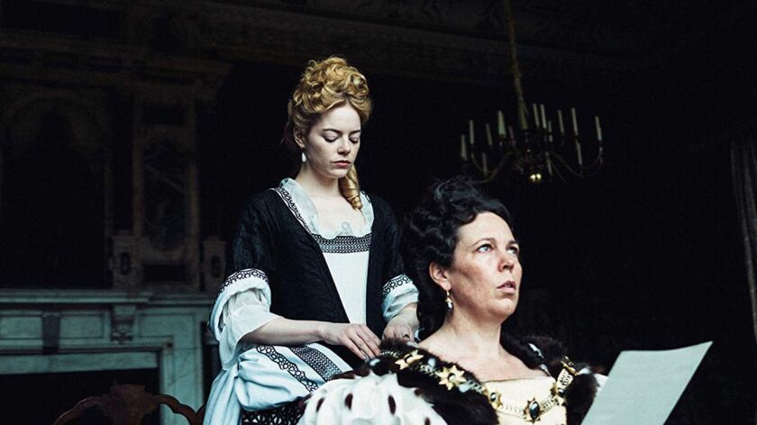 "Emma Stone and Olivia Colman in Fox Searchlight's ""The Favourite."" The film is up for an award at this year's GLAAD Media Awards, the organization announced."