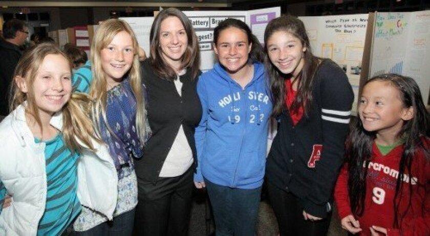 Morgan Dunn, Gaby Harrision, sixth-grade science teacher Amy Asselin Juliette Dicken, Emma Ellingson, Michaela Magpile (Photo: Jon Clark)