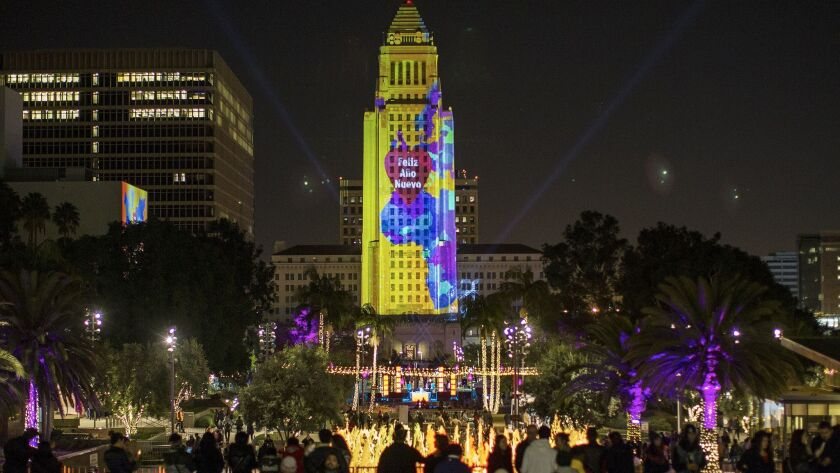 YU+co's projection onto Los Angeles City Hall during a New Year's Eve celebration in 2015.