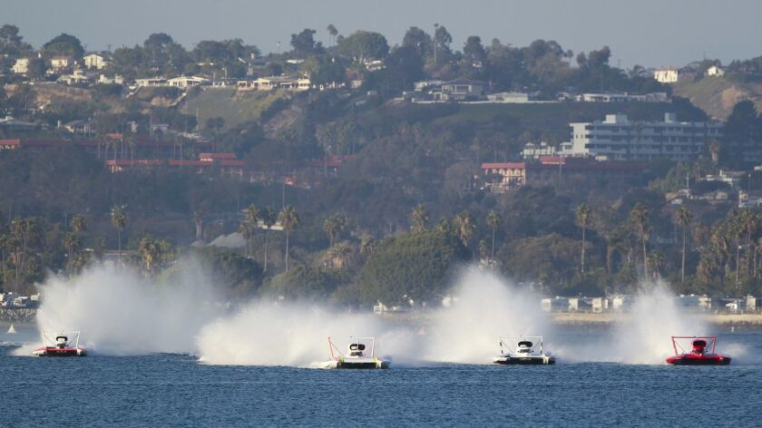 Unlimited Hydroplanes will reach about 150 mph on Mission Bay.