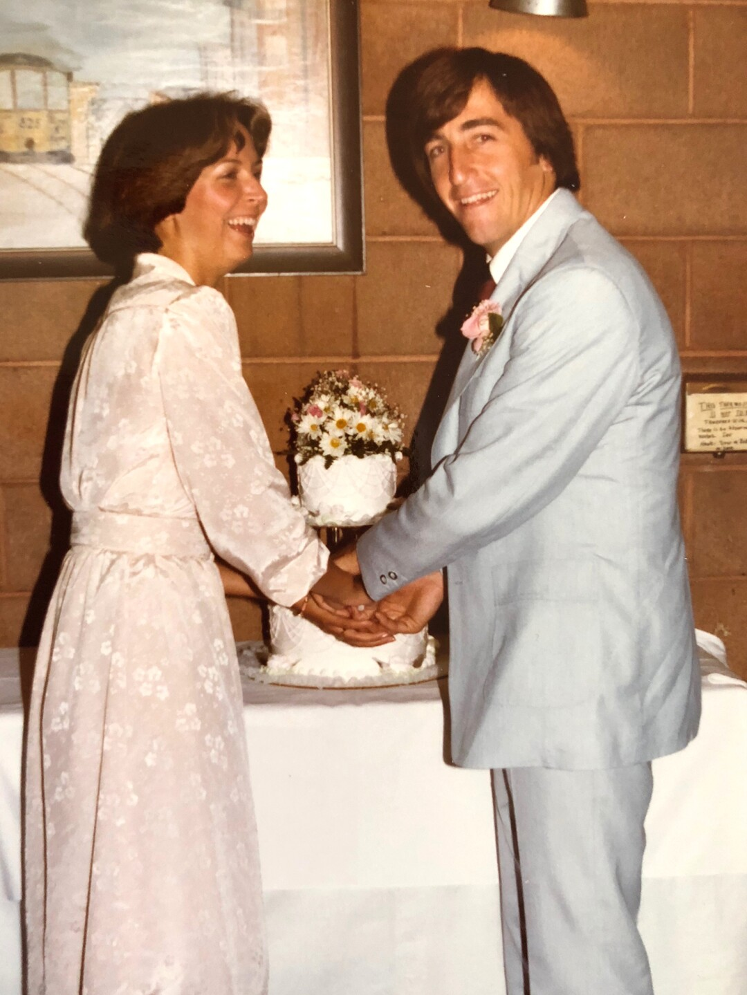 Bob Hardwick at his marriage to Gay, less than a year after the attack.