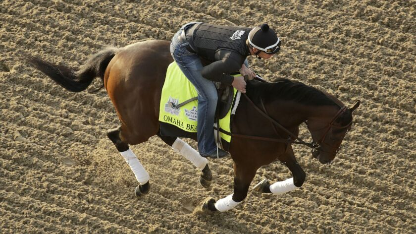 Kentucky Derby hopeful Omaha Beach is ridden during a workout at Churchill Downs Monday, April 29, 2