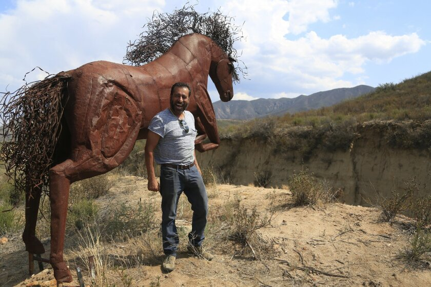 Metal sculptor Ricardo Breceda at the Vail Lake Resort on Highway 79. A new owner has taken control of the resort and has given Breceda 90 days to vacate. Breceda is now in the process of buying land about 7 miles away along 79 but plans to take his iconic metal horse sculptures overlooking the hi