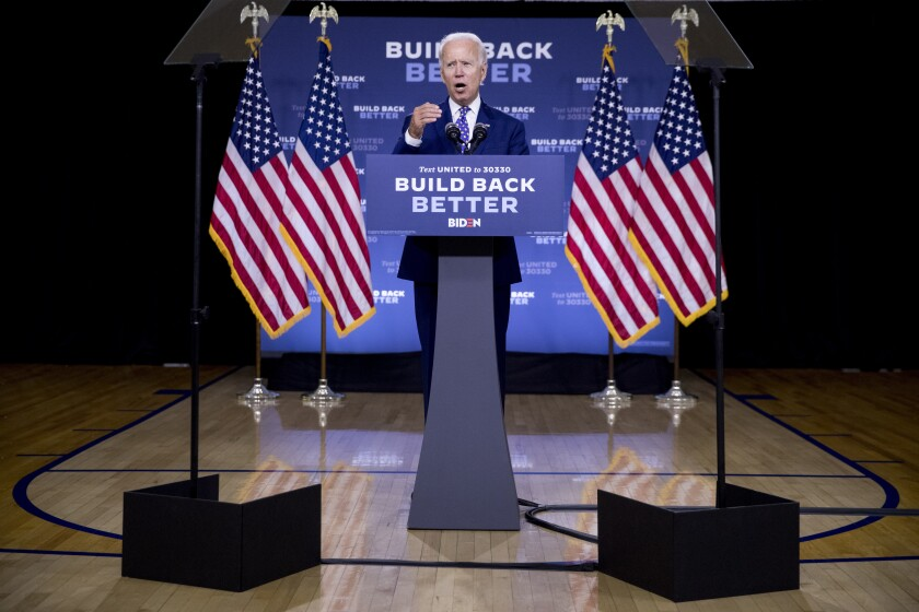 """FILE - In this July 28, 2020, file photo, Democratic presidential candidate former Vice President Joe Biden speaks at a campaign event at the William """"Hicks"""" Anderson Community Center in Wilmington, Del. Biden's latest gaffes concerning Black Americans risk exacerbating his challenges with young Black voters who have been more skeptical of him than their older counterparts. (AP Photo/Andrew Harnik, File)"""