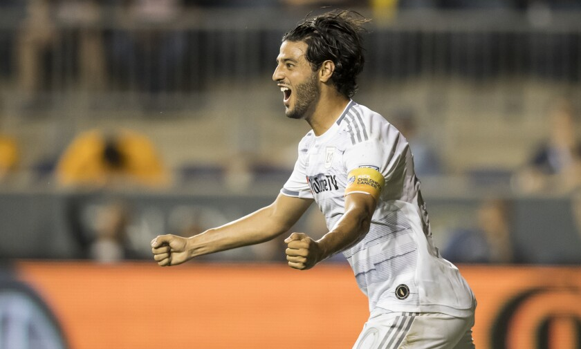 LAFC captain Carlos Vela celebrates after scoring a goal against the Philadelphia Union on Sept. 14 in Chester, Pa.