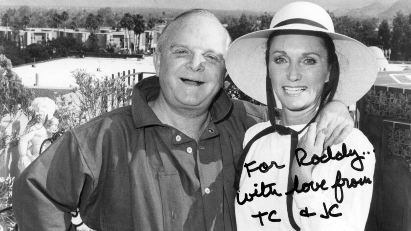 Truman Capote and Joanne Carson in Palm Springs; the photo is inscribed to actor Roddy McDowall