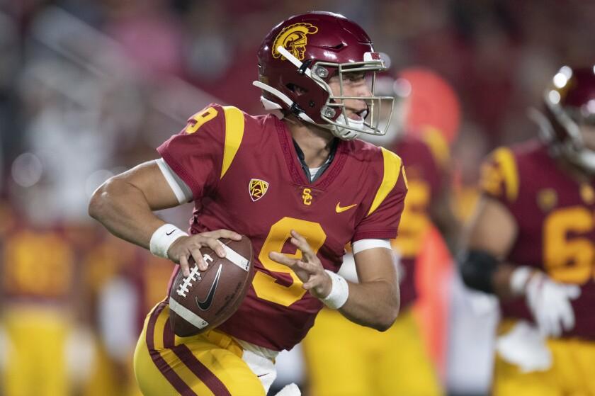 USC quarterback Kedon Slovis looks to make a pass against Fresno State on Saturday.