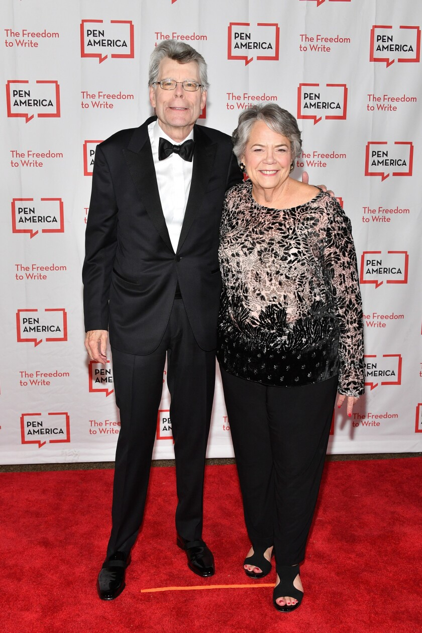 Carolyn Reidy and one of her authors, Stephen King, at the 2018 PEN Literary Gala in New York City.