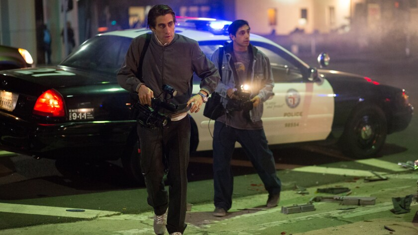 (Left to right) Jake Gyllenhaal and Riz Ahmed in the movie NIGHTCRAWLER, opening October 31, 2014.