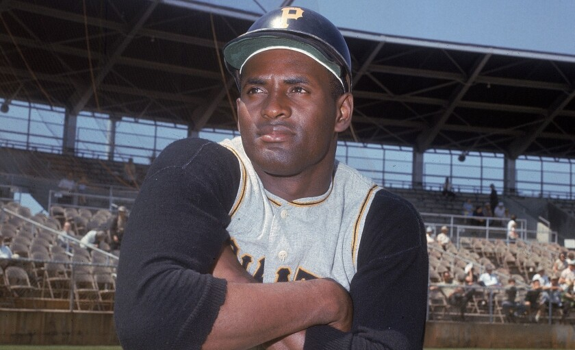 Pittsburgh Pirates' outfielder Roberto Clemente is seen.