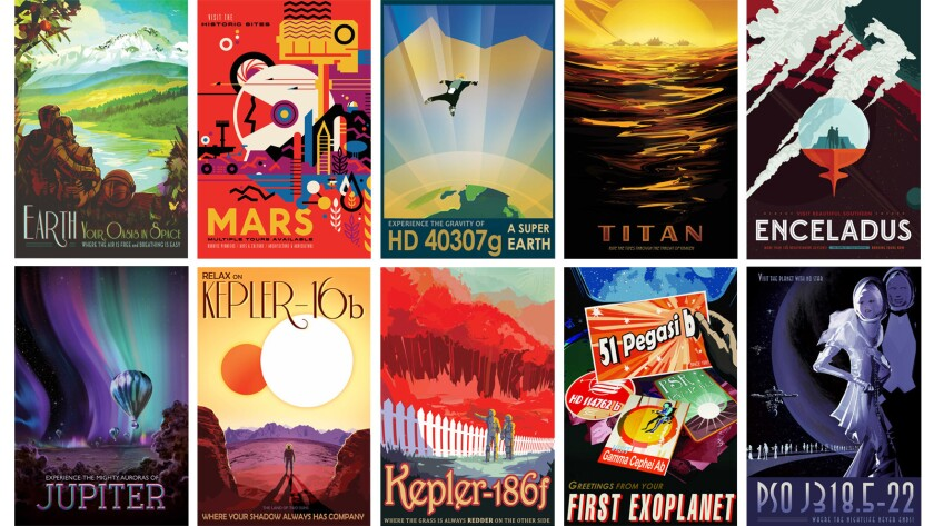 NASA's Jet Propulsion Laboratory created 14 posters advertising virtual trips to alien worlds (and Earth).