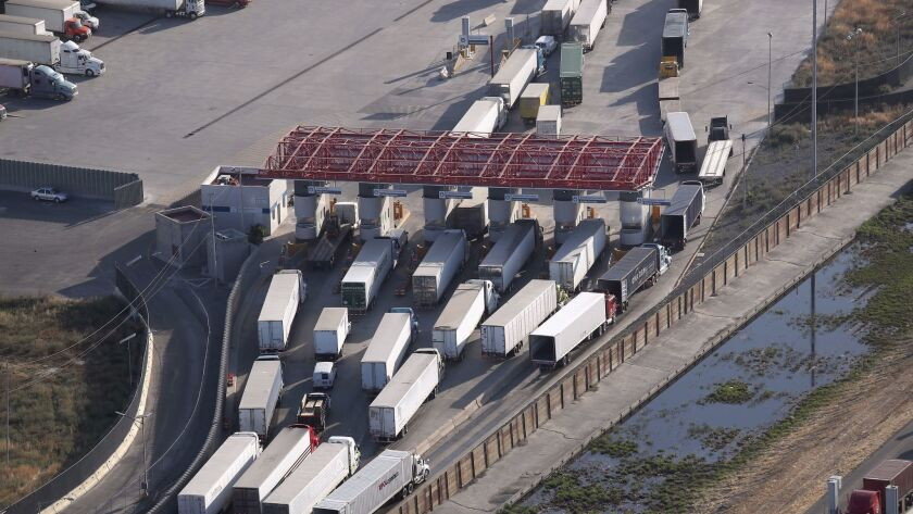 Freight truck pass through Mexican Customs before entering the United States at the Otay Mesa port o