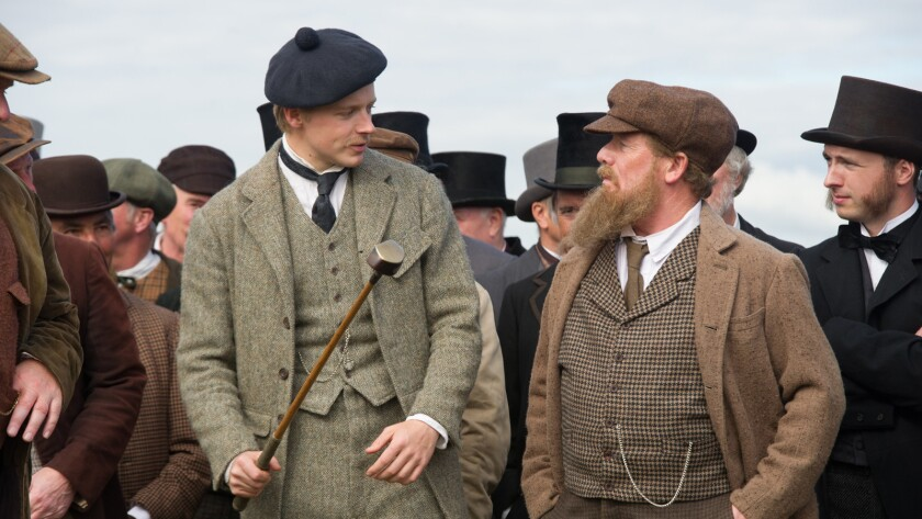 "Jack Lowden, left, as Young Tommy Morris and Peter Mullan as Old Tom Morris in the film ""Tommy's Honour."""