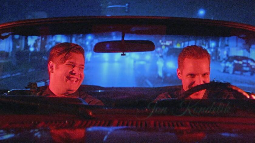 "Graham Denham, left, and Jon Kondelik in the movie ""Blood Brothers."""