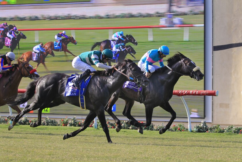 In the 74th running of Runhappy Oceanside Stakes at opening day for Del Mar on Wednesday July 17th, 2019, jockey Flavien Rrat and Jasikan cross the finish line to place first.