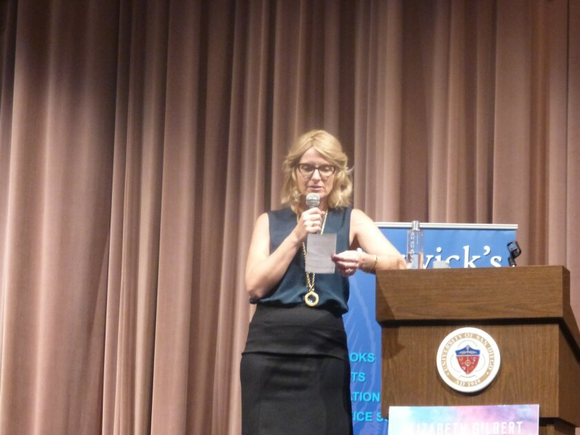 """""""I'm happy to say this book is fact-free,"""" announced Elizabeth Gilbert to the audience at Warwick's. The occasion was a new book titled """"Big Magic: Creative Living Beyond Fear."""" Courtesy photo"""