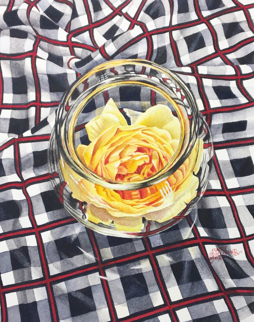 """Golden Celebration"" by Janet Gilliland. Painting of a yellow rose in a clear bowl."
