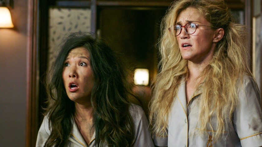 """Ally Maki, left, and Jessica Lowe in the season finale of """"Wrecked"""" on TBS."""