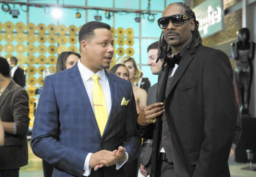 "Snoop Dogg, right, with ""Empire"" star Terrence Howard, is among the top musical guests on the Fox soap."
