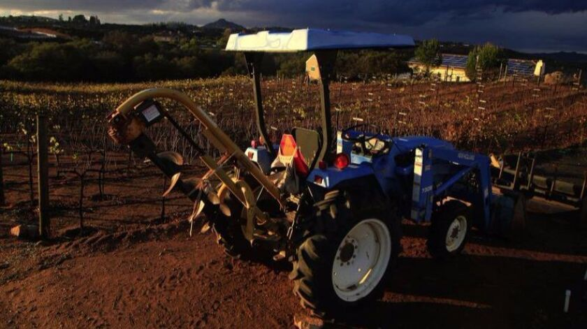 SAN DIEGO, CA-NOVEMBER 27, 2015: A tractor soaks up the sun after a November drizzle at Kohill Wine