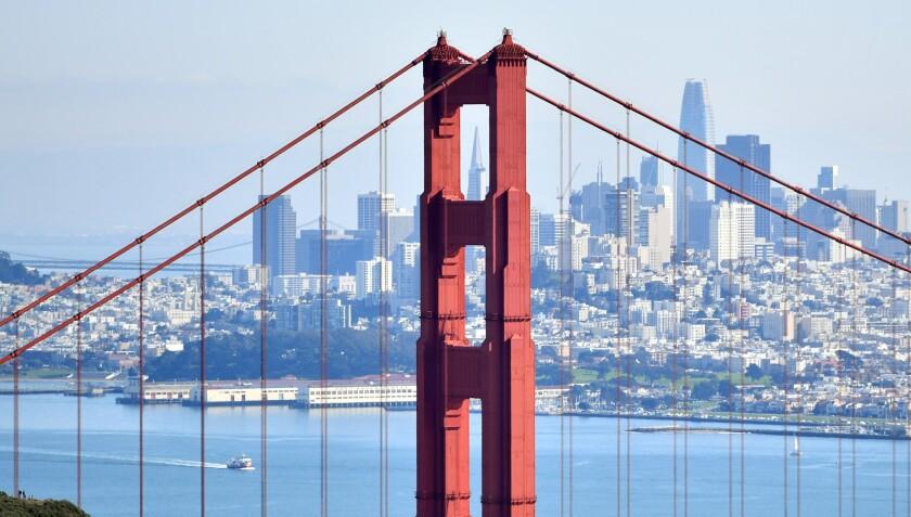 San Francisco, as seen from Sausalito through the Golden Gate Bridge.