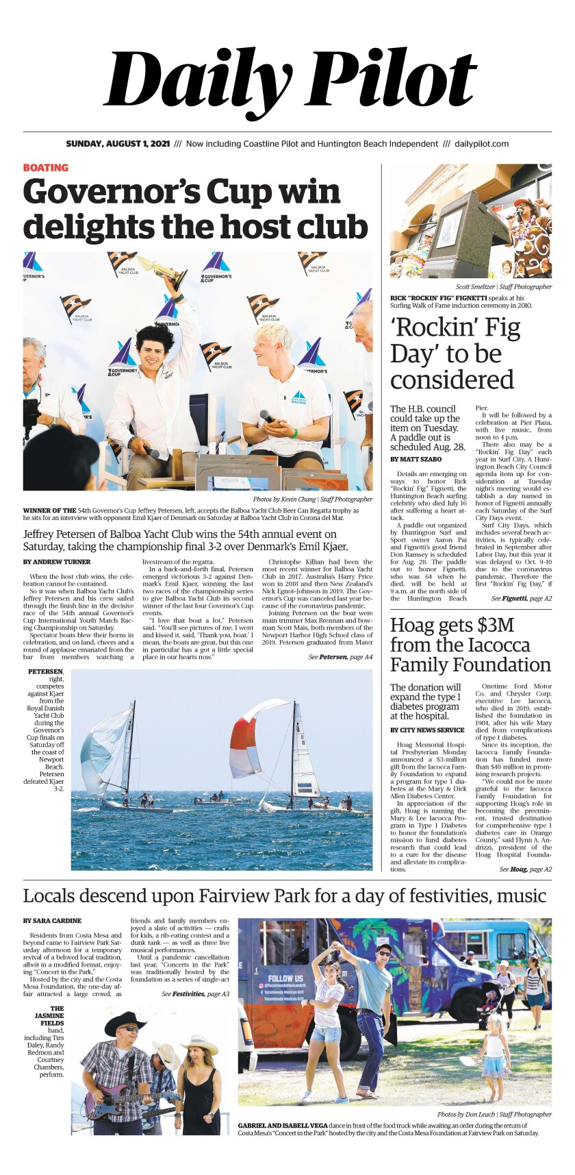 Front page of Daily Pilot e-newspaper for Sunday, August 1, 2021.