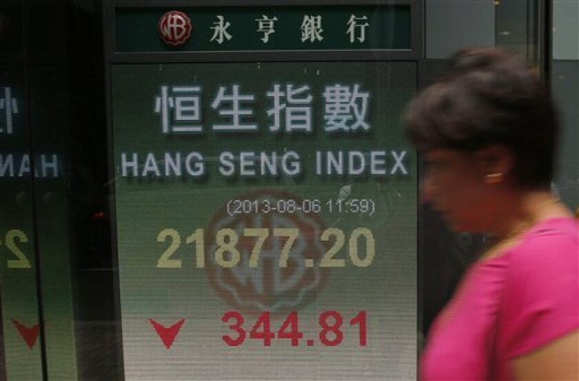 A woman walks past a bank electronic board showing the Hong Kong share index outside a Hong Kong local bank Tuesday, Aug. 6, 2013. Asian stock markets were mostly lower Tuesday despite an upbeat report on U.S. service industries that are the main driver of growth in the world's No. 1 economy. Hong Kong's Hang Seng dropped 1.6 percent to 21,872.03, dragged down by HSBC Holdings, which plunged 4.7 percent a day after the bank reported weaker-than-expected revenue for the first half of the year. (A