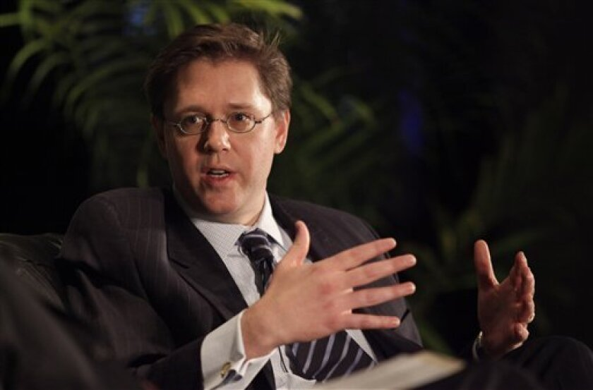 Federal Communications Commission chairman Kevin Martin speaks during a discussion at the International Consumer Electronics Show in Las Vegas, Saturday, Jan. 10, 2009. (AP Photo/Jae C. Hong)