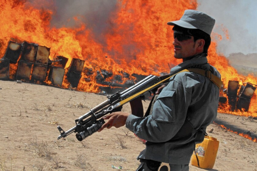 Confiscated opium burned in Afghanistan