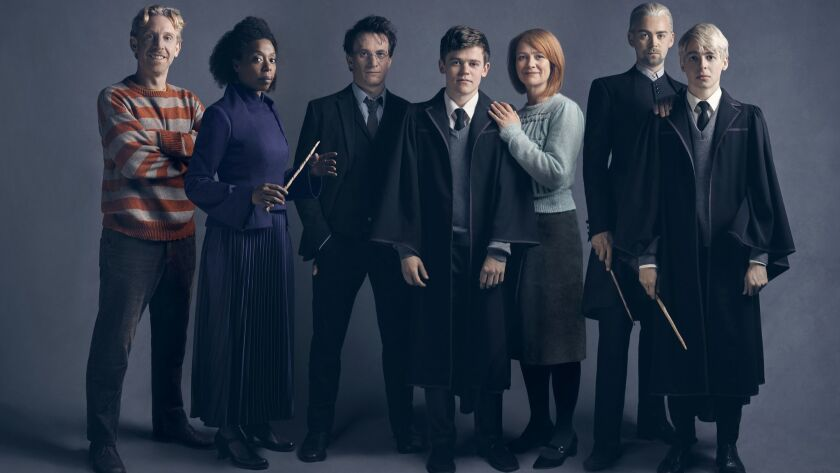 """Broadway's cast of """"Harry Potter and the Cursed Child,"""" from left: Paul Thornley (Ron), Noma Dumezweni (Hermoine), Jamie Parker (Harry), Sam Clemmett (Albus), Poppy Miller (Ginny), Alex Price (Draco) and Anthony Boyle (Scorpius)."""