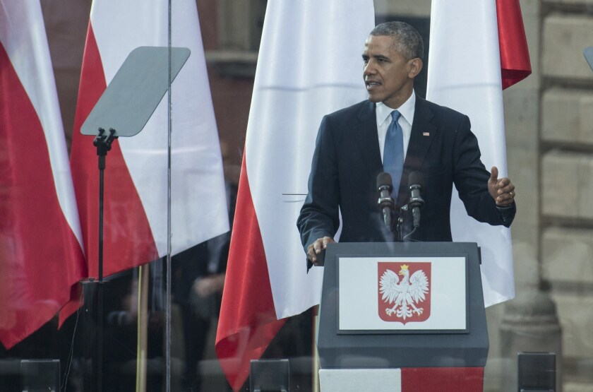 President Obama in Warsaw.