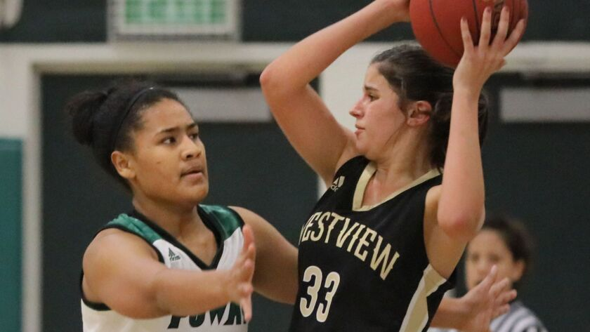 Poway's Val Tulafono (left) — a 6-foot senior — is averaging 11 points and 10 rebounds a game for the Titans, who have compiled an 8-4 record this season.