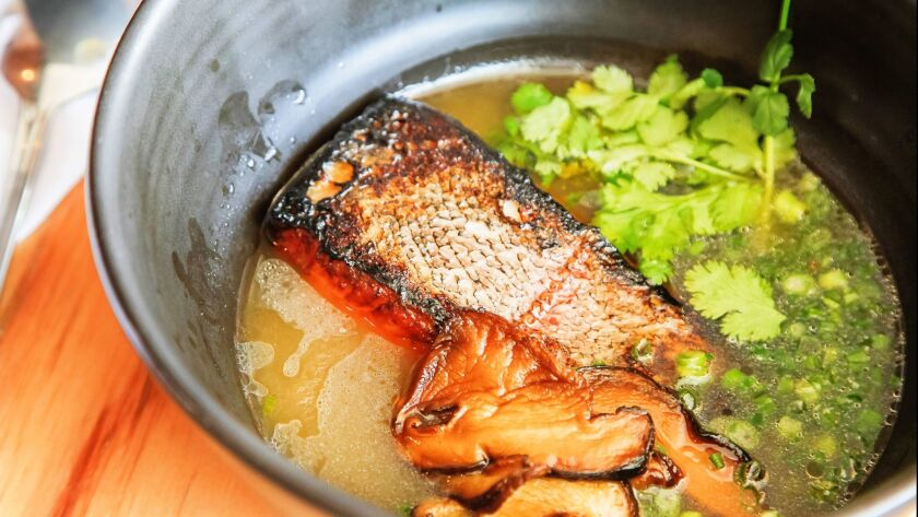 SAN DIEGO, CA January 11th, 2018 | Salmon in Roasted Chicken Dashi by Chef William Eick of 608 Resta