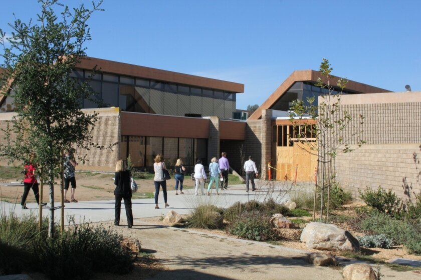 The new landscaping and J building at Torrey Pines High School.