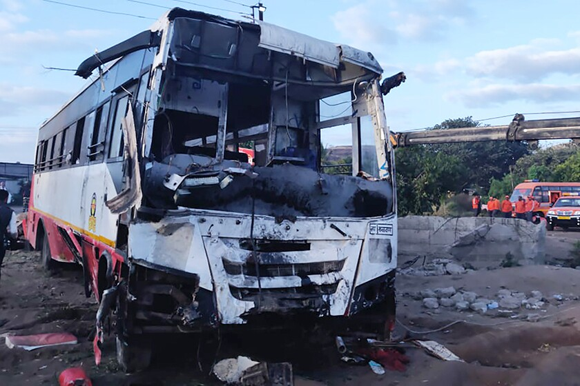 The bus involved in Tuesday night's accident in Nashik, India.