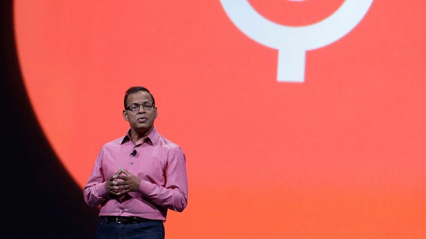 Amit Singhal, then a senior vice president at Google, speaks at Google I/O 2013 in San Francisco.