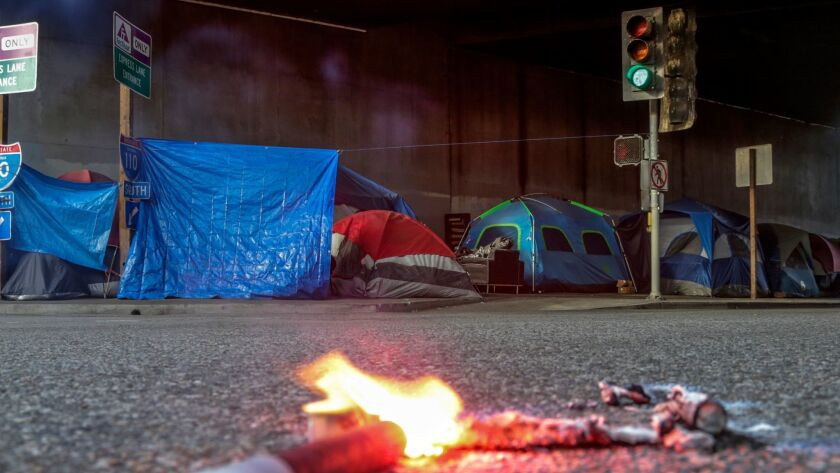 A homeless encampment in L.A. County
