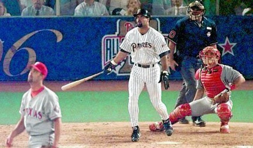 Ken Caminiti homers off the Rangers' Roger Pavlik leading off the sixth inning of the 1996 All-Star Game in Philadelphia.