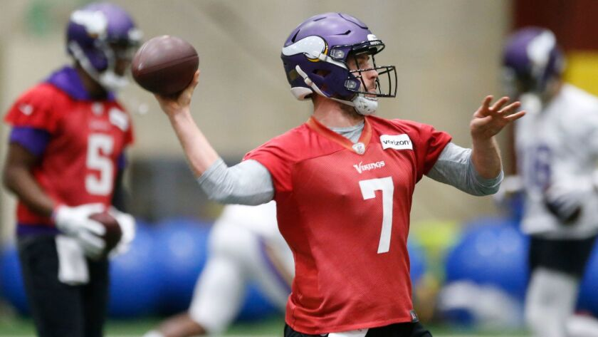 Minnesota Vikings quarterback Case Keenum throws during practice on Thursday for the upcoming NFC championship game in Philadelphia.