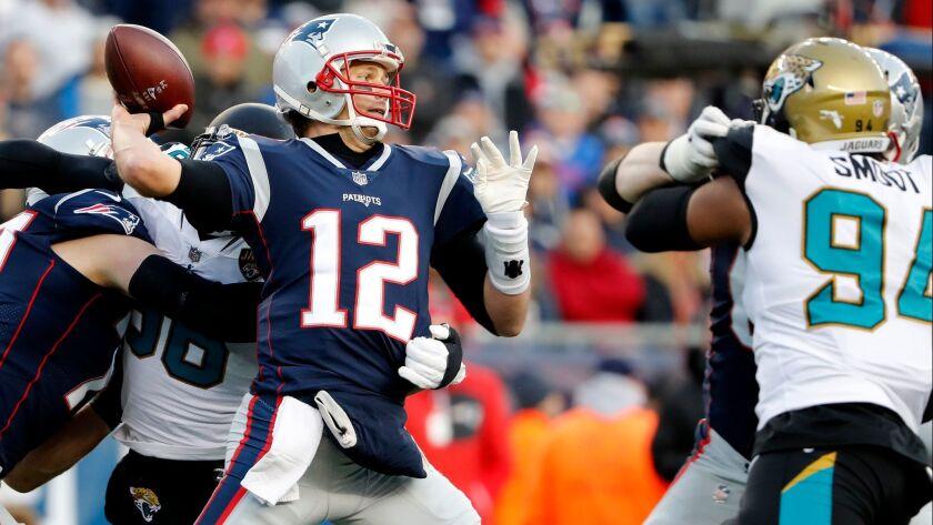 New England Patriots quarterback Tom Brady is seeking his sixth Super Bowl title.