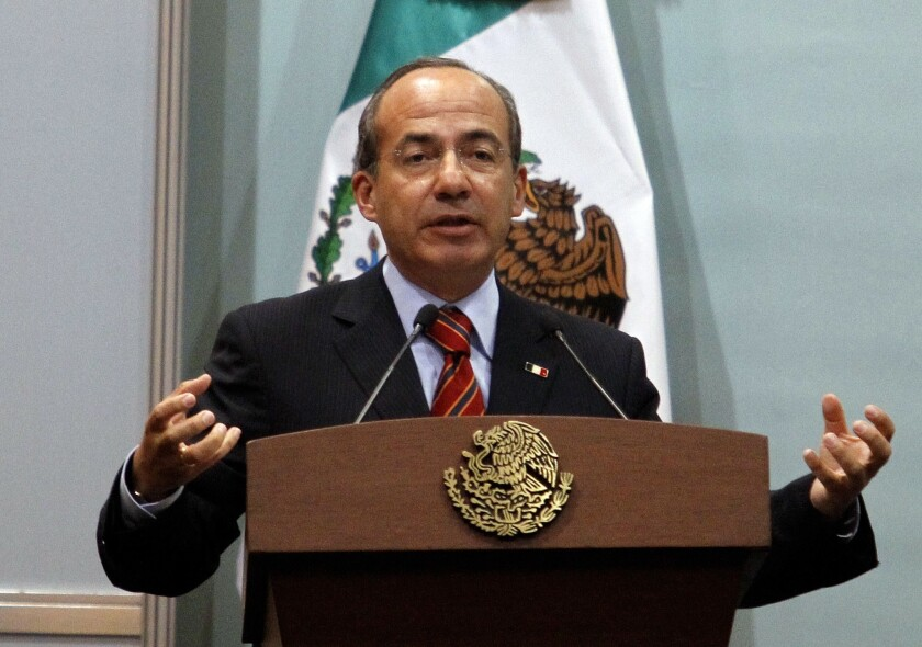 Mexico's President Calderon addresses an audience about  violence and the lack of safety in the border city of Ciudad Juarez