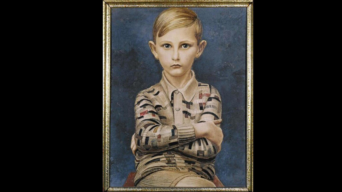 """Kurt Gunther's """"Portrait of a Boy"""" (1928), with the subject's icy gaze, might be the most quietly haunted painting in LACMA's """"New Objectivity"""" exhibition."""
