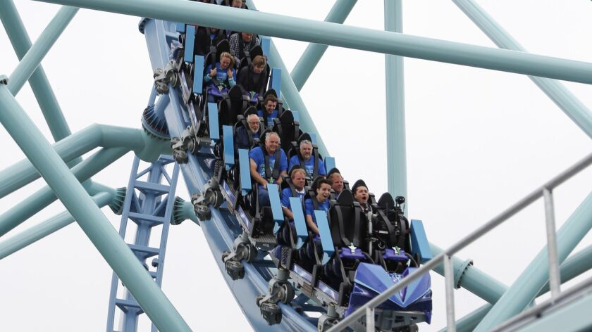 The Electric Eel coaster is among new SeaWorld attractions that are helping boost attendance at the San Diego marine park.
