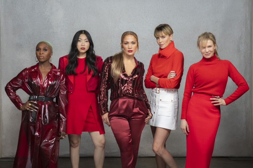 Cynthia Erivo, Awkwafina, Jennifer Lopez, Charlize Theron and Renée Zellweger at the round table of Los Angeles Times actress Envelope.
